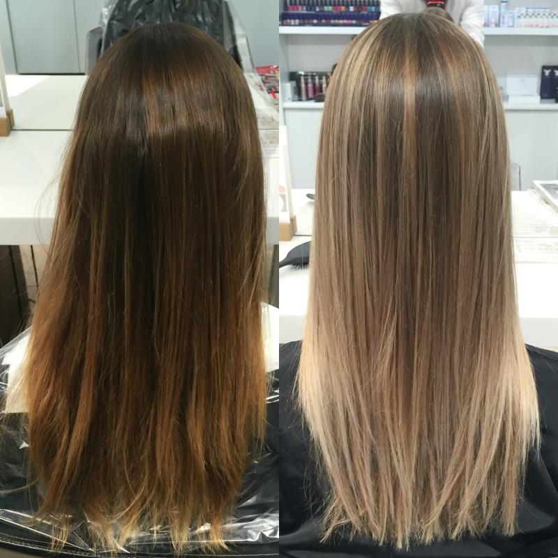 Брондирование волос до и после